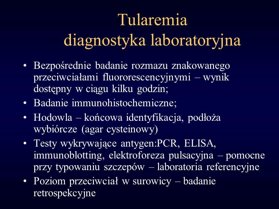 Tularemia diagnostyka laboratoryjna Bezpośrednie badanie rozmazu znakowanego przeciwciałami fluororescencyjnymi – wynik dostępny w ciągu kilku godzin;
