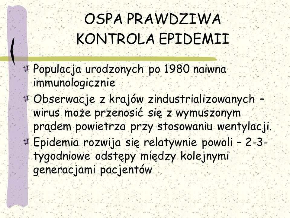 OSPA PRAWDZIWA KONTROLA EPIDEMII Populacja urodzonych po 1980 naiwna immunologicznie Obserwacje z krajów zindustrializowanych – wirus może przenosić się z wymuszonym prądem powietrza przy stosowaniu wentylacji.