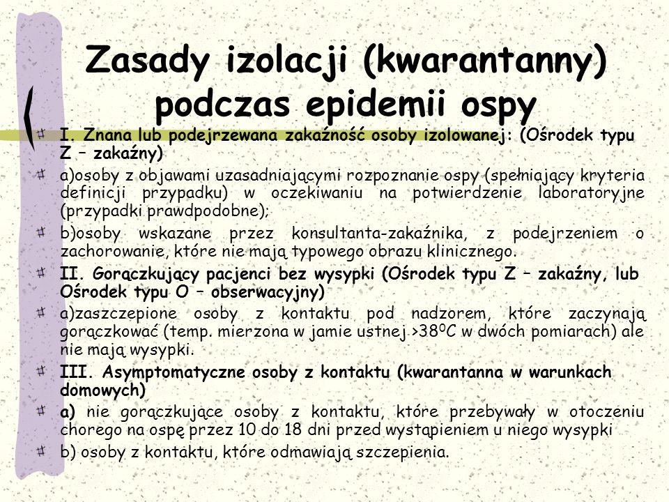 Zasady izolacji (kwarantanny) podczas epidemii ospy I.