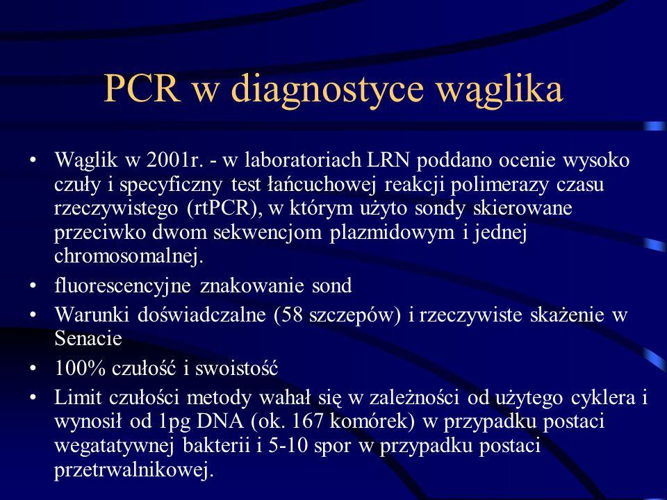 PCR w diagnostyce wąglika Wąglik w 2001r. - w laboratoriach LRN poddano ocenie wysoko czuły i specyficzny test łańcuchowej reakcji polimerazy czasu rz