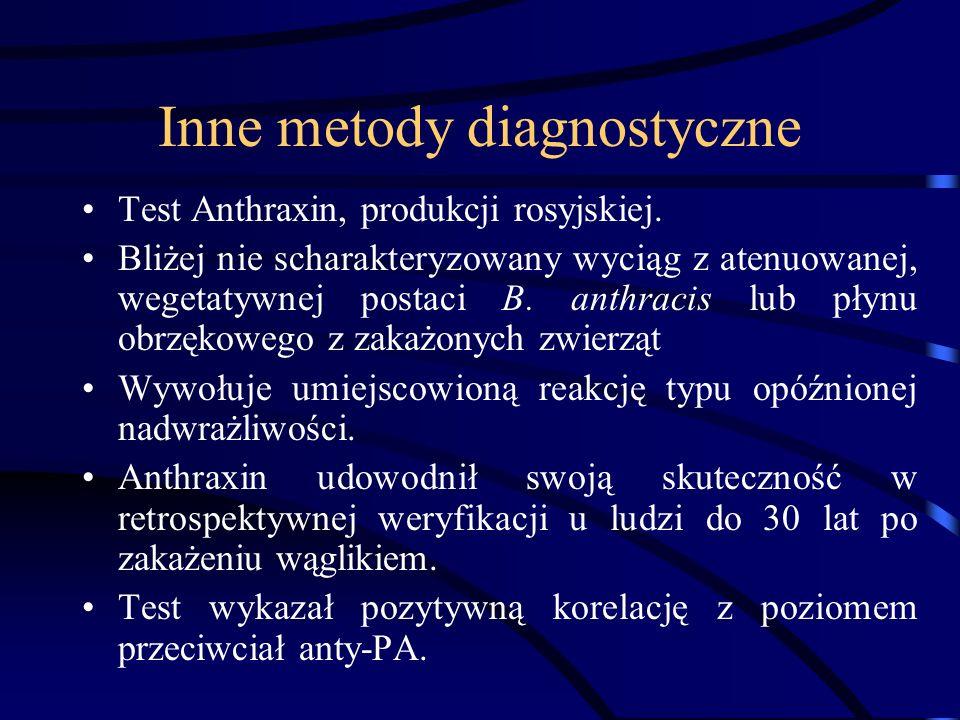 Inne metody diagnostyczne Test Anthraxin, produkcji rosyjskiej. Bliżej nie scharakteryzowany wyciąg z atenuowanej, wegetatywnej postaci B. anthracis l