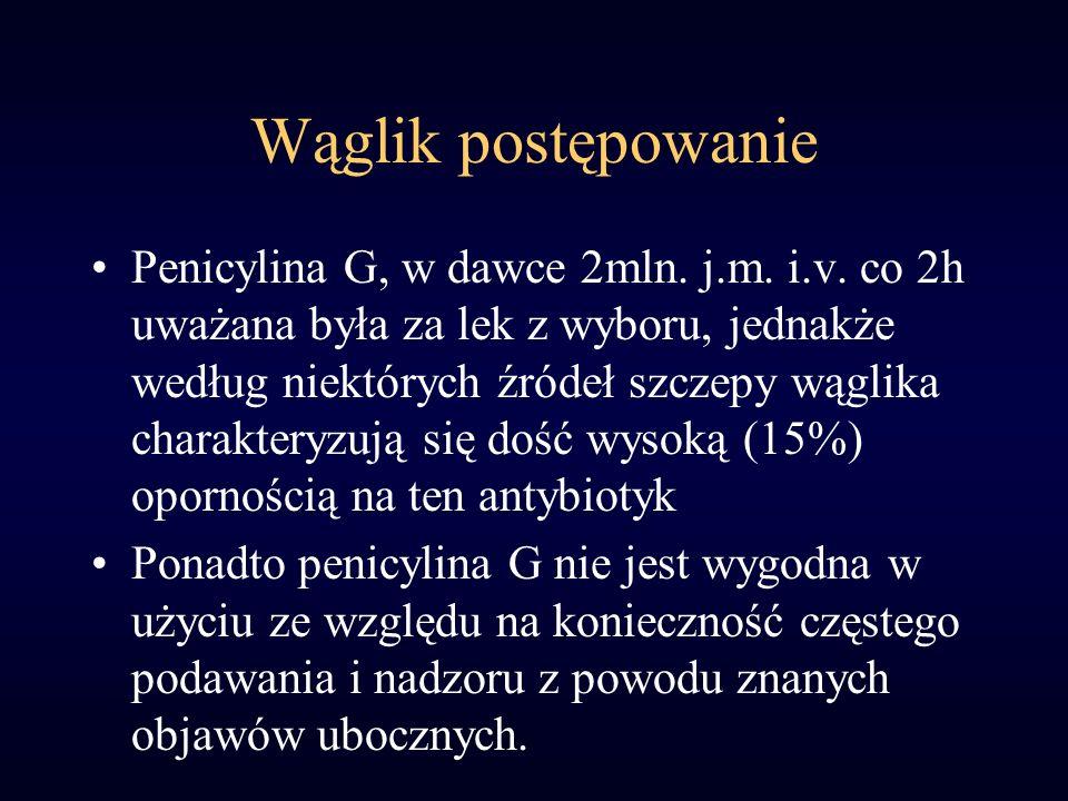 Wąglik postępowanie Penicylina G, w dawce 2mln. j.m. i.v. co 2h uważana była za lek z wyboru, jednakże według niektórych źródeł szczepy wąglika charak