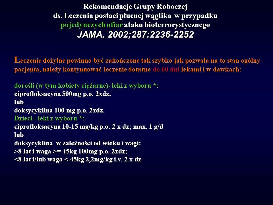 Rekomendacje Grupy Roboczej ds. Leczenia postaci płucnej wąglika w przypadku pojedynczych ofiar ataku bioterrorystycznego JAMA. 2002;287:2236-2252 L e