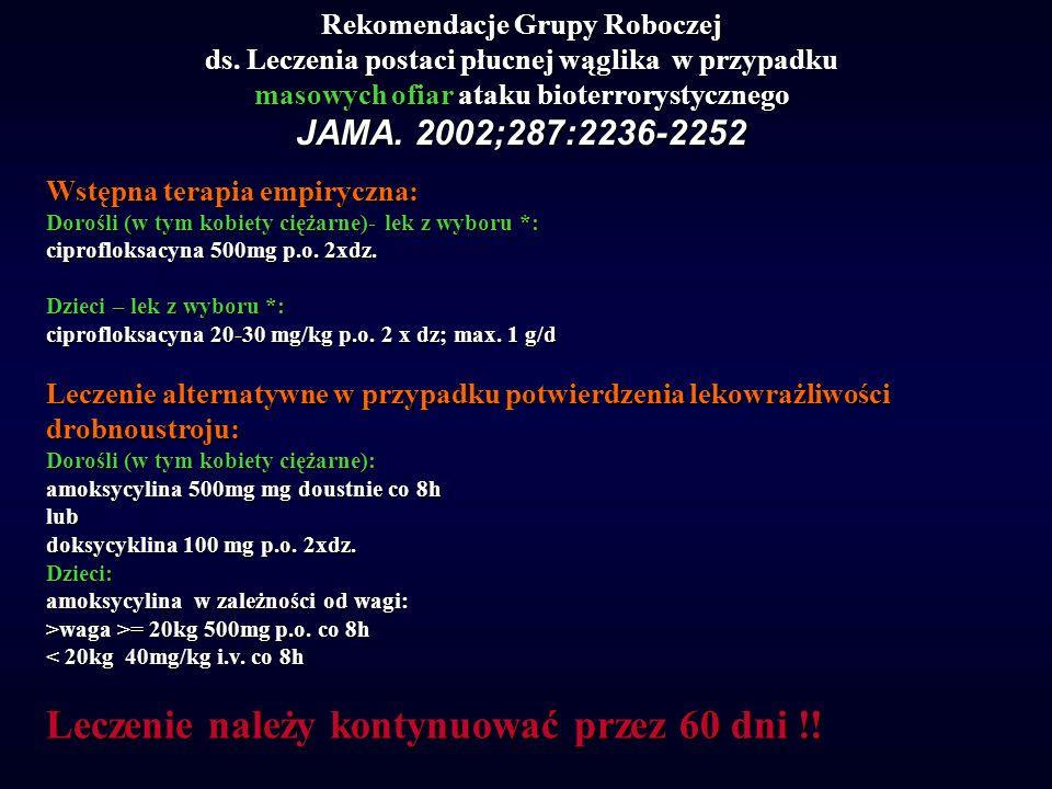 Rekomendacje Grupy Roboczej ds. Leczenia postaci płucnej wąglika w przypadku masowych ofiar ataku bioterrorystycznego JAMA. 2002;287:2236-2252 Wstępna