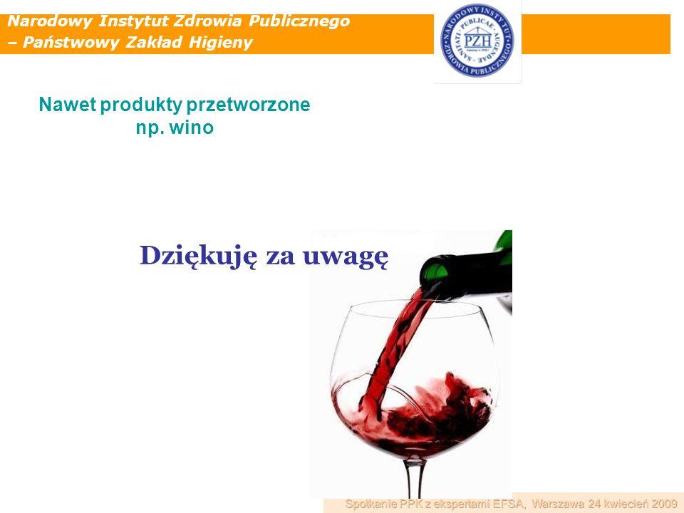 Narodowy Instytut Zdrowia Publicznego – Państwowy Zakład Higieny Dziękuję za uwagę Nawet produkty przetworzone np. wino