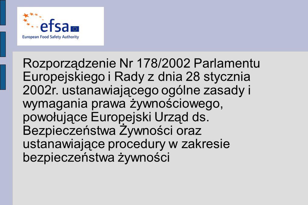Rozporządzenie Nr 178/2002 Parlamentu Europejskiego i Rady z dnia 28 stycznia 2002r. ustanawiającego ogólne zasady i wymagania prawa żywnościowego, po