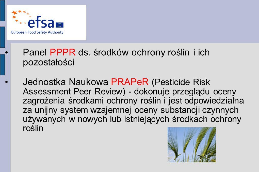 Panel PPPR ds. środków ochrony roślin i ich pozostałości Jednostka Naukowa PRAPeR ( Pesticide Risk Assessment Peer Review) - dokonuje przeglądu oceny