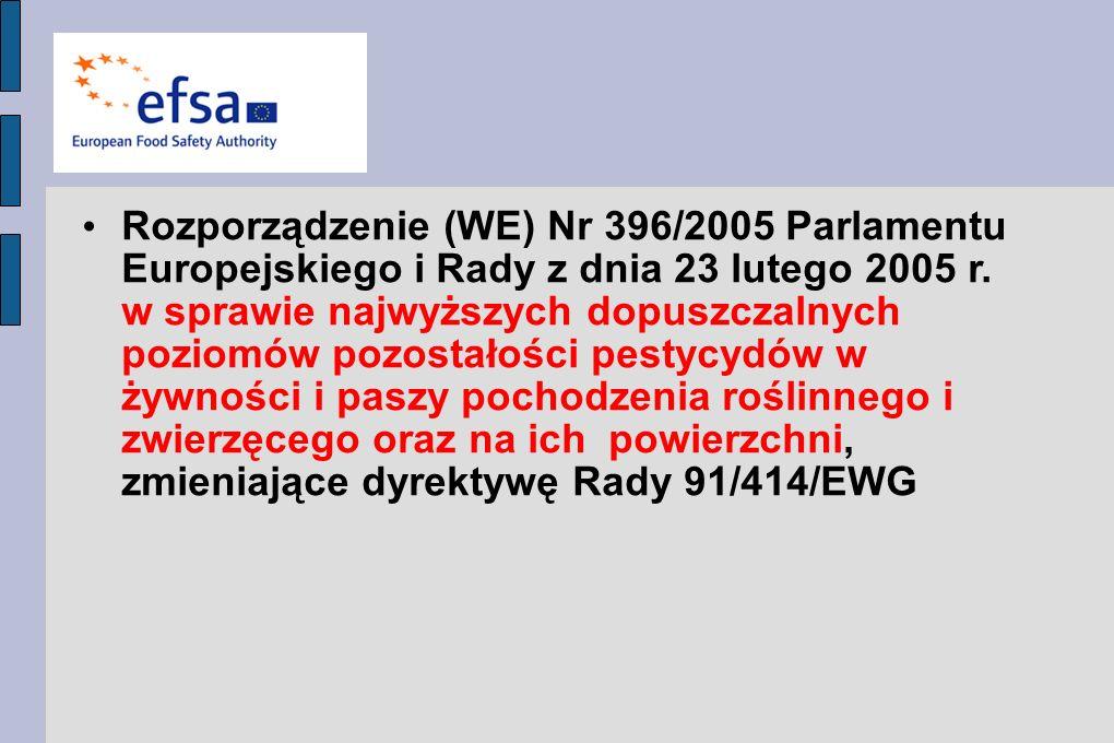 Rozporządzenie (WE) Nr 396/2005 Parlamentu Europejskiego i Rady z dnia 23 lutego 2005 r. w sprawie najwyższych dopuszczalnych poziomów pozostałości pe