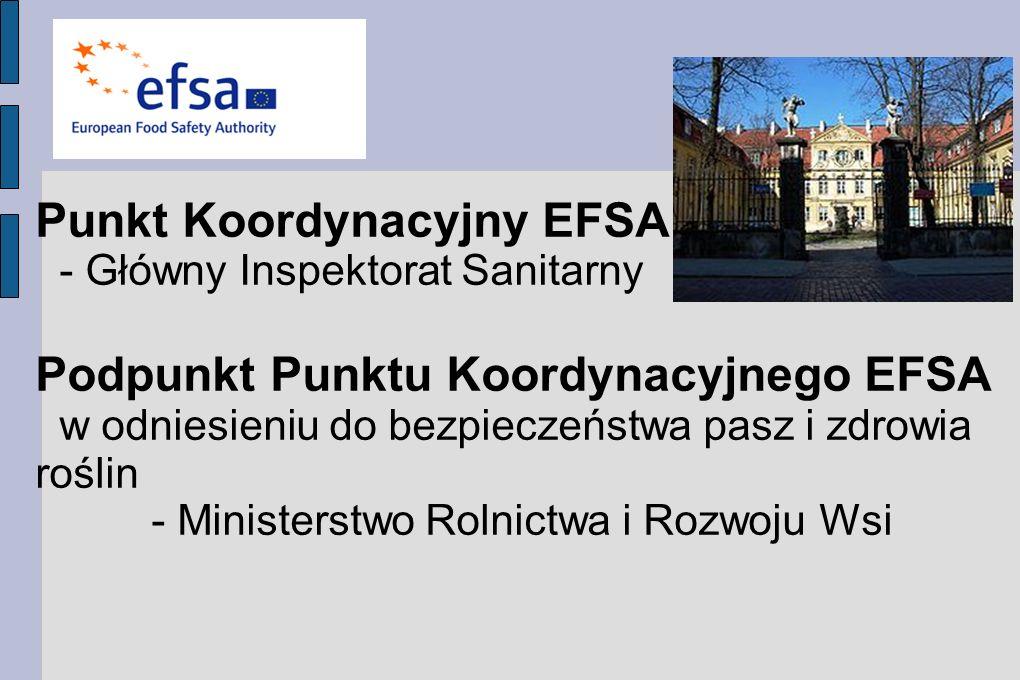 Punkt Koordynacyjny EFSA - Główny Inspektorat Sanitarny Podpunkt Punktu Koordynacyjnego EFSA w odniesieniu do bezpieczeństwa pasz i zdrowia roślin - Ministerstwo Rolnictwa i Rozwoju Wsi