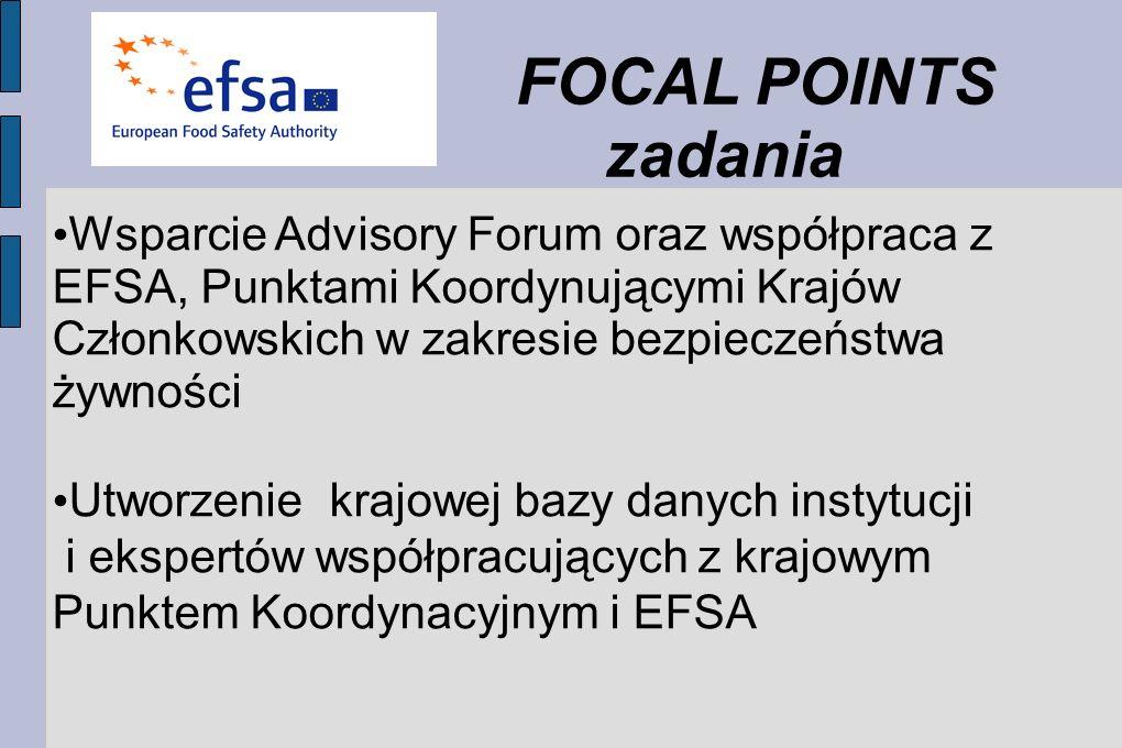 FOCAL POINTS zadania Wsparcie Advisory Forum oraz współpraca z EFSA, Punktami Koordynującymi Krajów Członkowskich w zakresie bezpieczeństwa żywności Utworzenie krajowej bazy danych instytucji i ekspertów współpracujących z krajowym Punktem Koordynacyjnym i EFSA