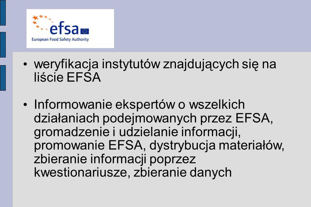 weryfikacja instytutów znajdujących się na liście EFSA Informowanie ekspertów o wszelkich działaniach podejmowanych przez EFSA, gromadzenie i udzielanie informacji, promowanie EFSA, dystrybucja materiałów, zbieranie informacji poprzez kwestionariusze, zbieranie danych