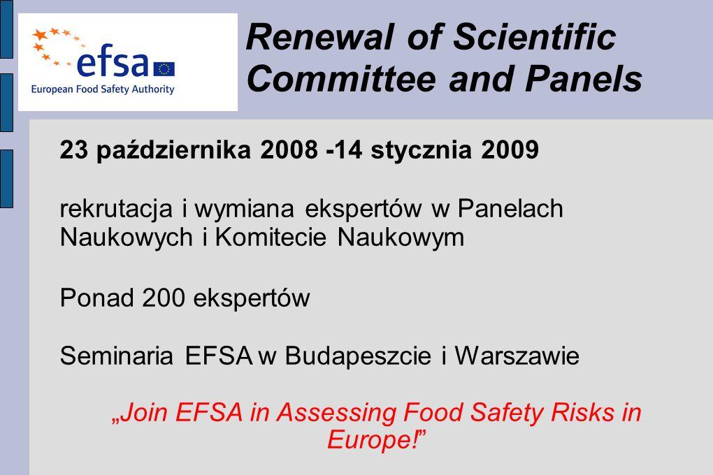 Renewal of Scientific Committee and Panels 23 października 2008 -14 stycznia 2009 rekrutacja i wymiana ekspertów w Panelach Naukowych i Komitecie Naukowym Ponad 200 ekspertów Seminaria EFSA w Budapeszcie i Warszawie Join EFSA in Assessing Food Safety Risks in Europe!