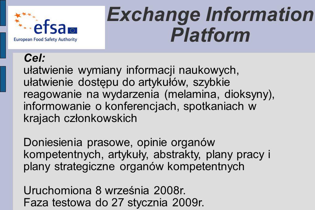 Exchange Information Platform Cel: ułatwienie wymiany informacji naukowych, ułatwienie dostępu do artykułów, szybkie reagowanie na wydarzenia (melamina, dioksyny), informowanie o konferencjach, spotkaniach w krajach członkowskich Doniesienia prasowe, opinie organów kompetentnych, artykuły, abstrakty, plany pracy i plany strategiczne organów kompetentnych Uruchomiona 8 września 2008r.