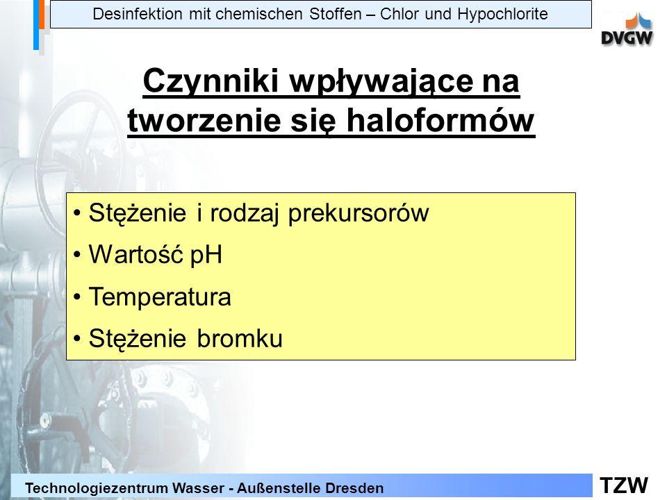 TZW Technologiezentrum Wasser - Außenstelle Dresden Desinfektion mit chemischen Stoffen – Chlor und Hypochlorite Czynniki wpływające na tworzenie się haloformów Stężenie i rodzaj prekursorów Wartość pH Temperatura Stężenie bromku