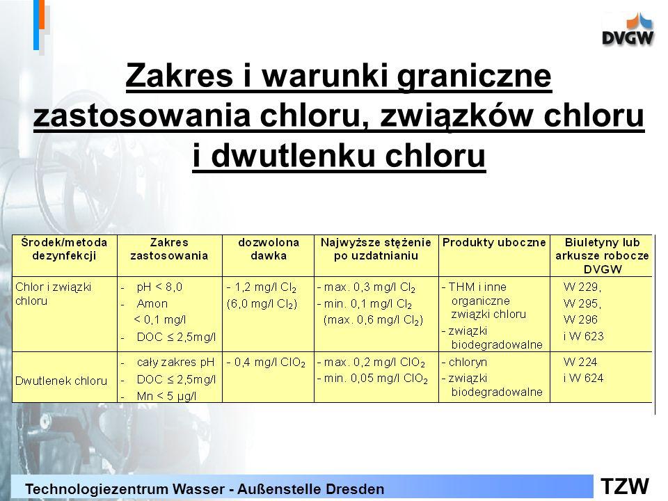 TZW Technologiezentrum Wasser - Außenstelle Dresden Zakres i warunki graniczne zastosowania chloru, związków chloru i dwutlenku chloru