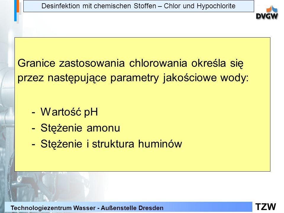 TZW Technologiezentrum Wasser - Außenstelle Dresden Granice zastosowania chlorowania określa się przez następujące parametry jakościowe wody: -Wartość pH -Stężenie amonu -Stężenie i struktura huminów Desinfektion mit chemischen Stoffen – Chlor und Hypochlorite