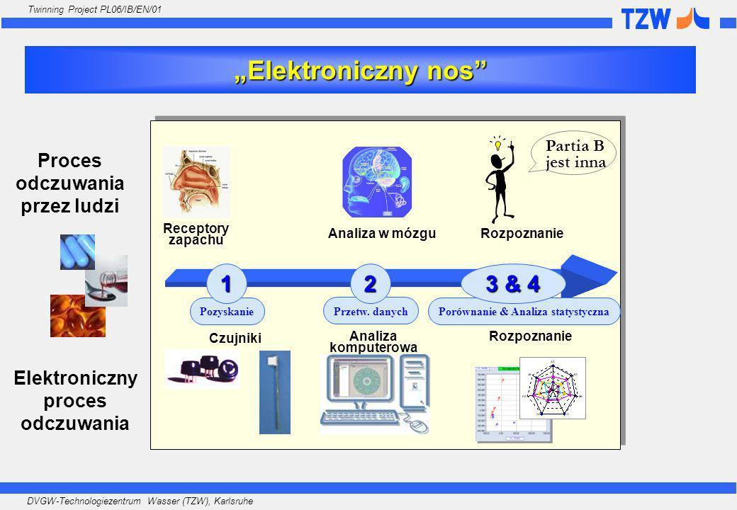DVGW-Technologiezentrum Wasser (TZW), Karlsruhe Twinning Project PL06/IB/EN/01 Elektroniczny nos Proces odczuwania przez ludzi Porównanie & Analiza st