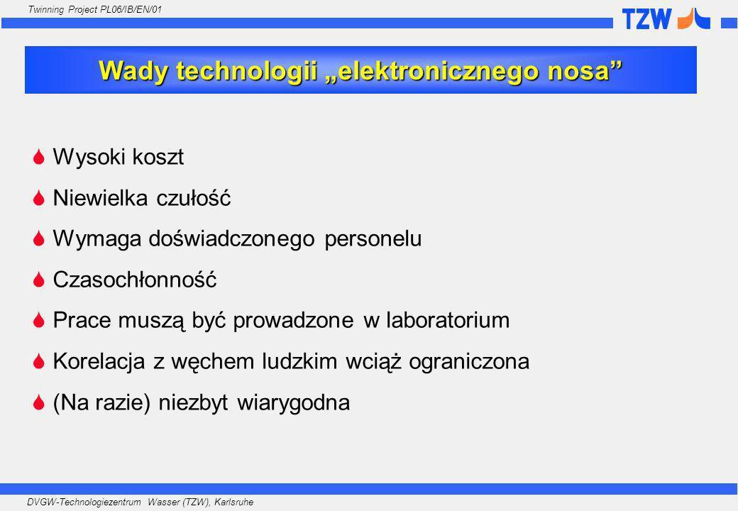 DVGW-Technologiezentrum Wasser (TZW), Karlsruhe Twinning Project PL06/IB/EN/01 Wysoki koszt Niewielka czułość Wymaga doświadczonego personelu Czasochł