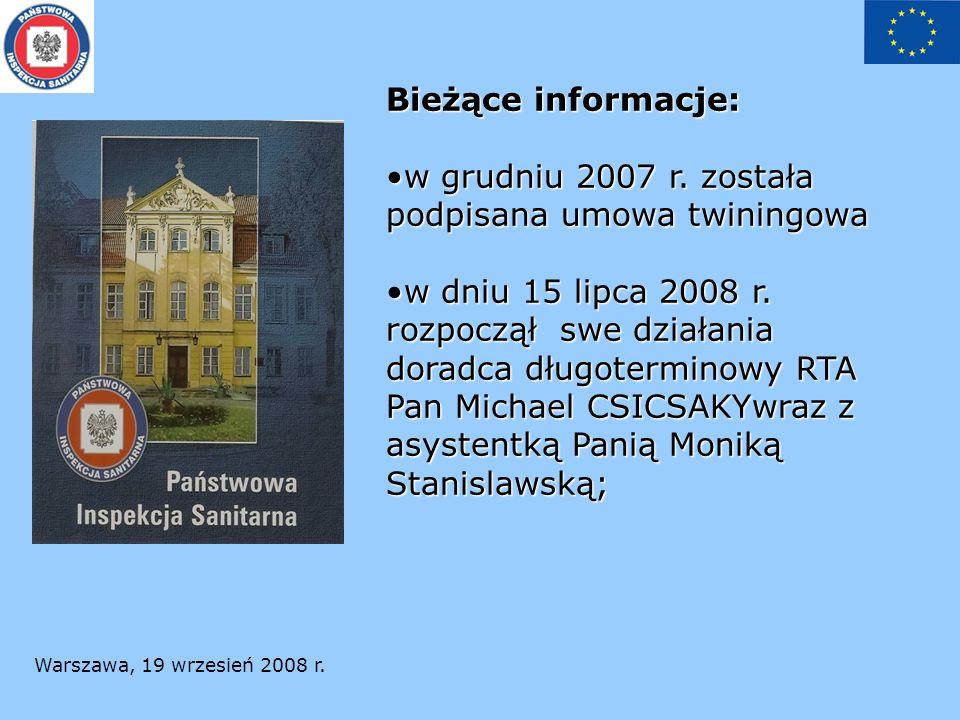 Warszawa, 19 wrzesień 2008 r. Bieżące informacje: w grudniu 2007 r.