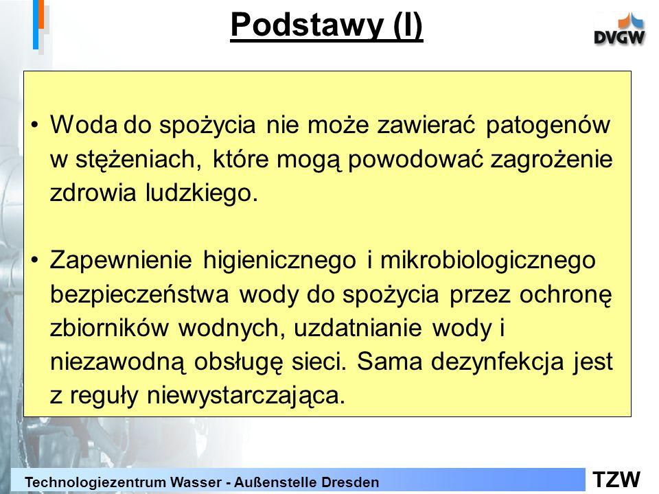 TZW Technologiezentrum Wasser - Außenstelle Dresden Podstawy (II) Brak zasadniczego wymogu: -Dezynfekcji wody w zakładzie wodociągowym -Stężenia pozostałości środków dezynfekcyjnych w sieci lub w zaworze czerpalnym Zastosowanie środków dezynfekcyjnych tylko gdy zachodzi taka konieczność: - zalecenie minimalizacji (powstawanie produktów ubocznych)