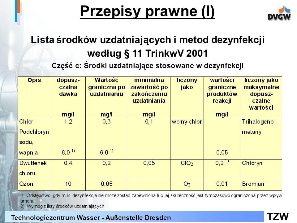 TZW Technologiezentrum Wasser - Außenstelle Dresden Lista środków uzdatniających i metod dezynfekcji według § 11 TrinkwV 2001 Część c: Środki uzdatnia