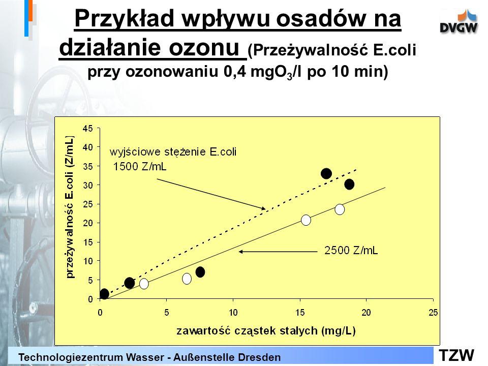 TZW Technologiezentrum Wasser - Außenstelle Dresden Przykład wpływu osadów na działanie ozonu (Przeżywalność E.coli przy ozonowaniu 0,4 mgO 3 /l po 10