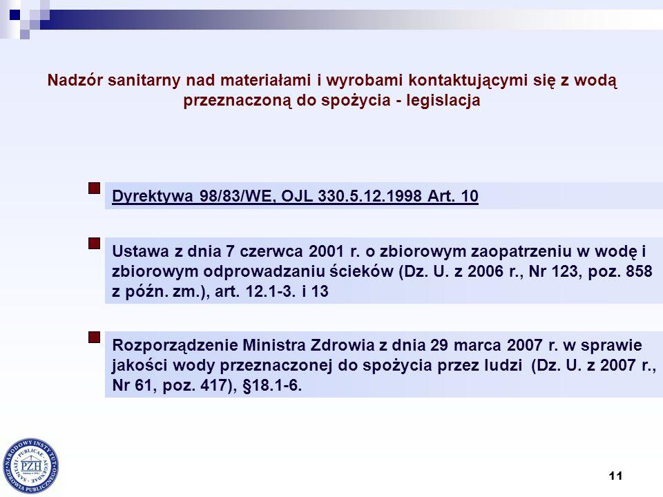 11 Nadzór sanitarny nad materiałami i wyrobami kontaktującymi się z wodą przeznaczoną do spożycia - legislacja Dyrektywa 98/83/WE, OJL 330.5.12.1998 A