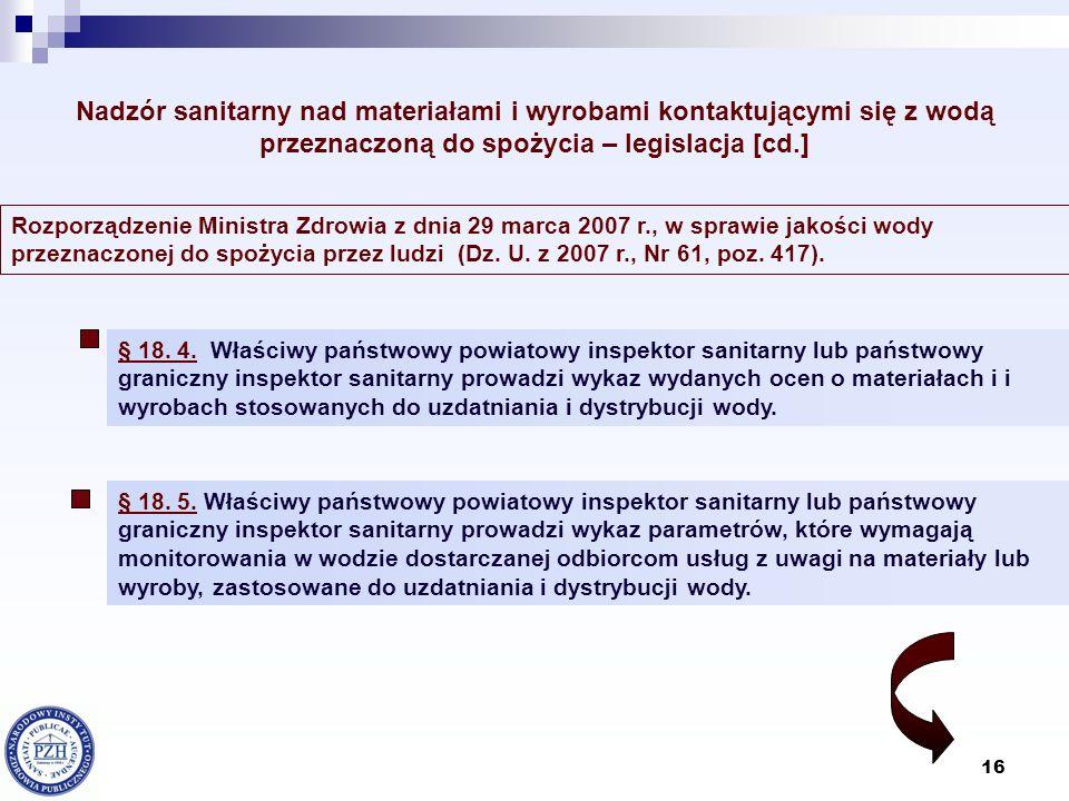 16 Rozporządzenie Ministra Zdrowia z dnia 29 marca 2007 r., w sprawie jakości wody przeznaczonej do spożycia przez ludzi (Dz. U. z 2007 r., Nr 61, poz
