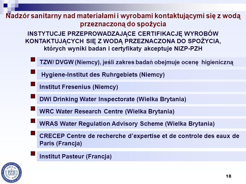 18 Nadzór sanitarny nad materiałami i wyrobami kontaktującymi się z wodą przeznaczoną do spożycia TZW/ DVGW (Niemcy), jeśli zakres badań obejmuje ocen