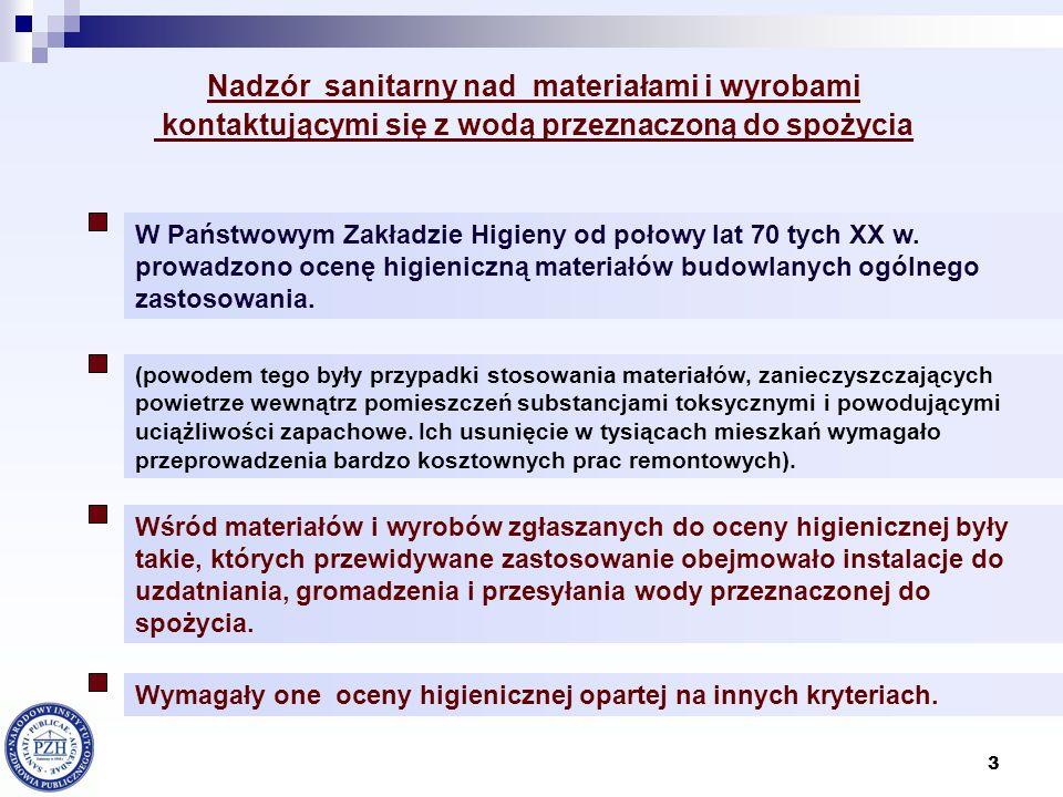 14 (rozporządzenie utraciło ważność z chwilą wejścia w życie nowelizacji ustawy o zbiorowym zaopatrzeniu w wodę i zbiorowym odprowadzeniu ścieków z dnia 22 kwietnia 2005 r.) Nadzór sanitarny nad materiałami i wyrobami kontaktującymi się z wodą przeznaczoną do spożycia – legislacja [cd.] Rozporządzenie Ministra Zdrowia z dnia 19 listopada 2002 r.