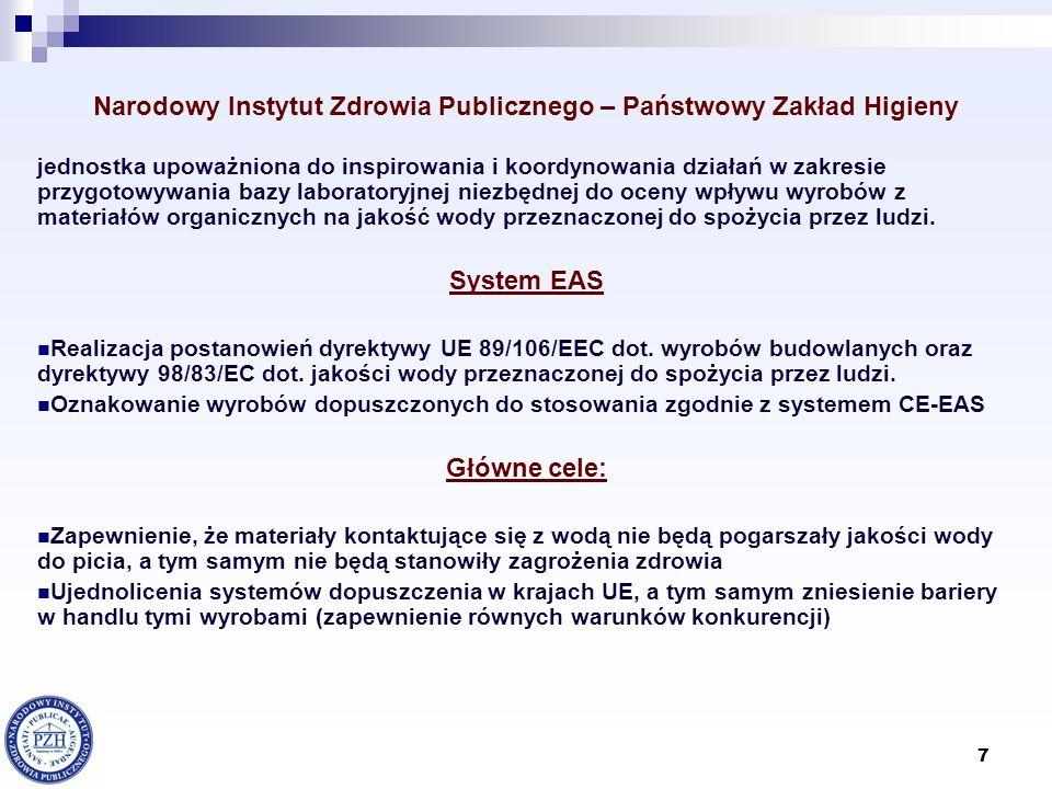 18 Nadzór sanitarny nad materiałami i wyrobami kontaktującymi się z wodą przeznaczoną do spożycia TZW/ DVGW (Niemcy), jeśli zakres badań obejmuje ocenę higieniczną Hygiene-Institut des Ruhrgebiets (Niemcy) WRC Water Research Centre (Wielka Brytania) WRAS Water Regulation Advisory Scheme (Wielka Brytania) DWI Drinking Water Inspectorate (Wielka Brytania) Institut Pasteur (Francja) INSTYTUCJE PRZEPROWADZAJĄCE CERTIFIKACJĘ WYROBÓW KONTAKTUJĄCYCH SIĘ Z WODĄ PRZEZNACZONA DO SPOŻYCIA, których wyniki badan i certyfikaty akceptuje NIZP-PZH CRECEP Centre de recherche dexpertise et de controle des eaux de Paris (Francja) Institut Fresenius (Niemcy)