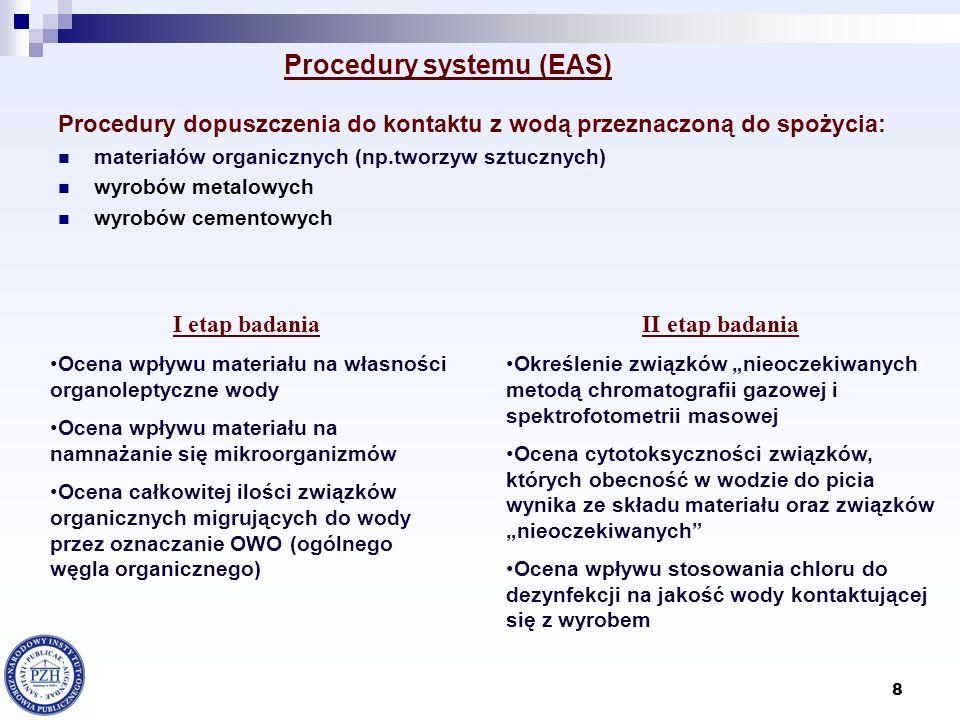 8 Procedury systemu (EAS) Procedury dopuszczenia do kontaktu z wodą przeznaczoną do spożycia: materiałów organicznych (np.tworzyw sztucznych) wyrobów