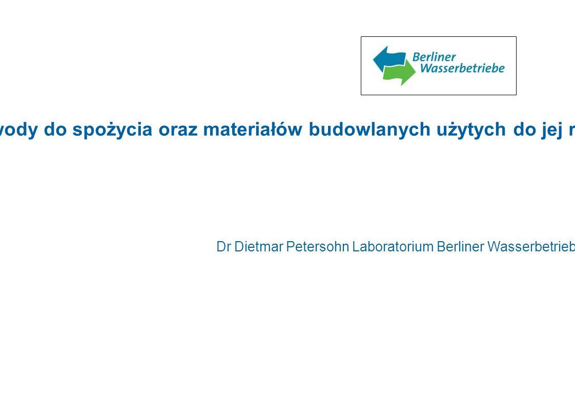 Pobieranie prób podczas i po zakończeniu dezynfekcji wody do spożycia oraz materiałów budowlanych użytych do jej rozprowadzania Dr Dietmar Petersohn L
