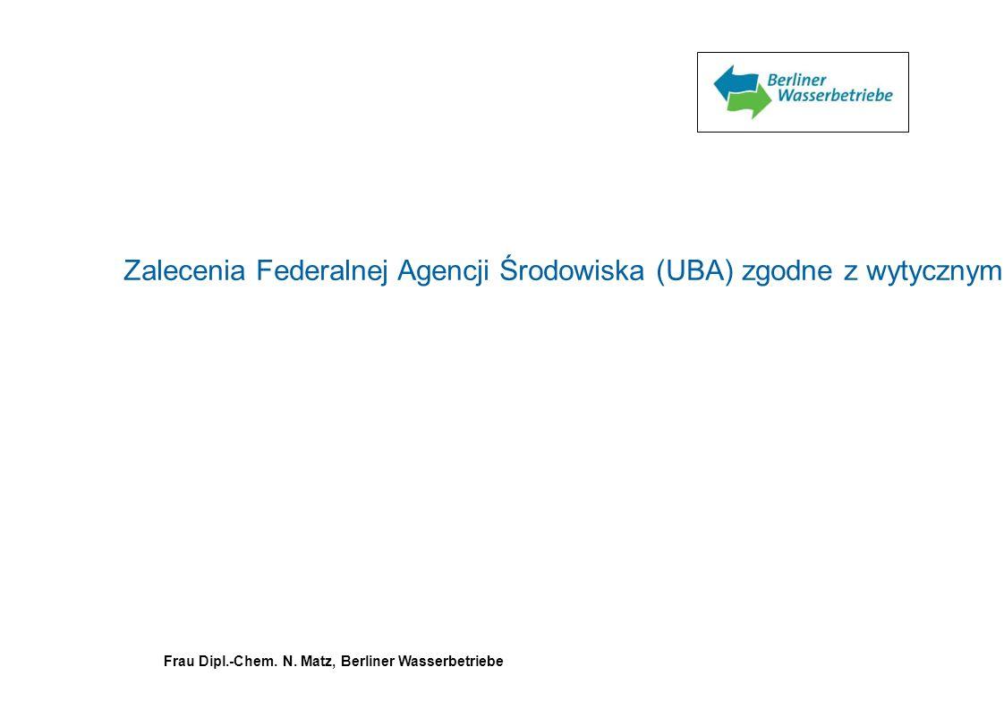 Zalecenia Federalnej Agencji Środowiska (UBA) zgodne z wytycznymi komisji ds. wody do spożycia przy Federalnym Ministerstwie Zdrowia i Opieki Społeczn