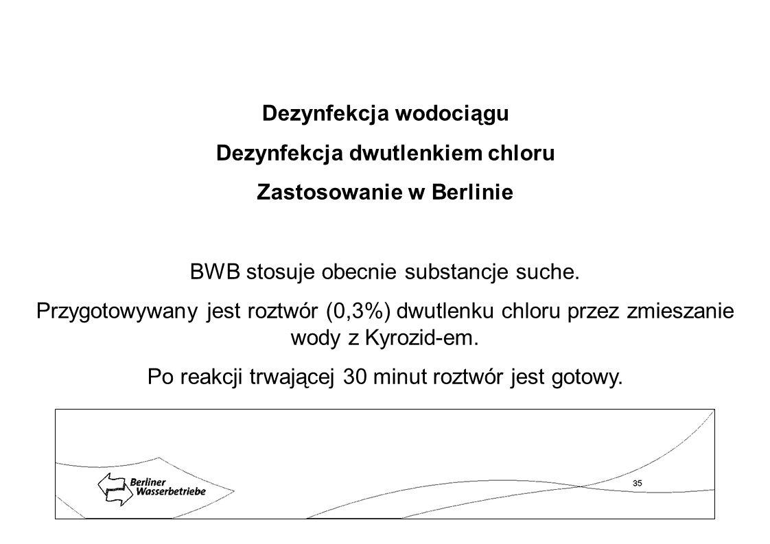 Dezynfekcja wodociągu Dezynfekcja dwutlenkiem chloru Zastosowanie w Berlinie BWB stosuje obecnie substancje suche. Przygotowywany jest roztwór (0,3%)