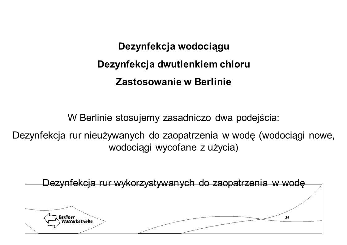Dezynfekcja wodociągu Dezynfekcja dwutlenkiem chloru Zastosowanie w Berlinie W Berlinie stosujemy zasadniczo dwa podejścia: Dezynfekcja rur nieużywany
