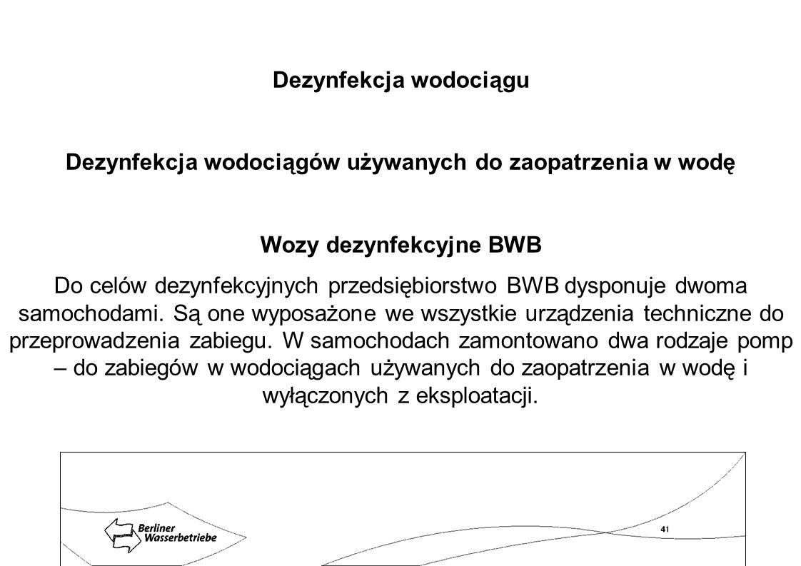 Dezynfekcja wodociągu Dezynfekcja wodociągów używanych do zaopatrzenia w wodę Wozy dezynfekcyjne BWB Do celów dezynfekcyjnych przedsiębiorstwo BWB dys