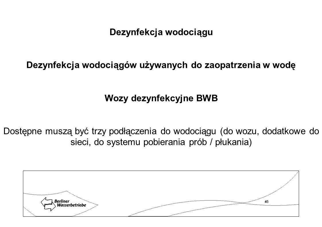 Dezynfekcja wodociągu Dezynfekcja wodociągów używanych do zaopatrzenia w wodę Wozy dezynfekcyjne BWB Dostępne muszą być trzy podłączenia do wodociągu