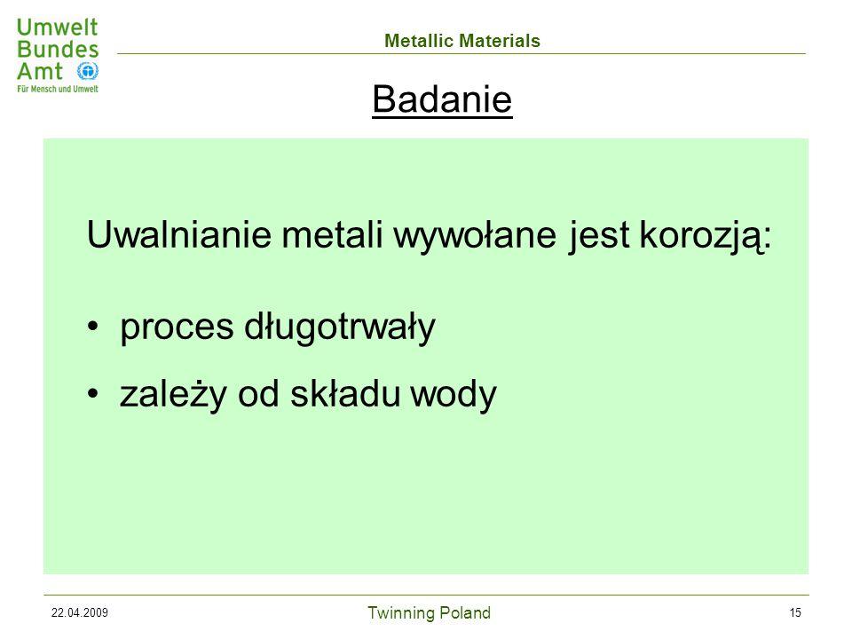 Twinning Poland Metallic Materials 22.04.200915 Uwalnianie metali wywołane jest korozją: proces długotrwały zależy od składu wody Badanie
