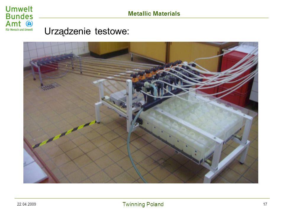 Twinning Poland Metallic Materials 22.04.200917 Urządzenie testowe: