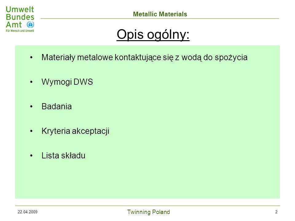 Twinning Poland Metallic Materials 22.04.200933 Zatwierdzanie / certyfikacja wyrobów: Wyroby muszą być wykonane z materiałów znajdujących się na LS => Wymagane tylko badanie składu Jedynie w przypadku niektórych cech (warstwa niklu) wymagane są dalsze badania uwalniania metali Lista składu