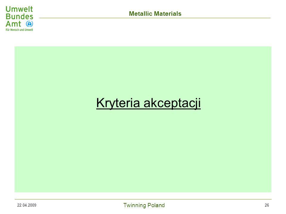Twinning Poland Metallic Materials 22.04.200926 Kryteria akceptacji