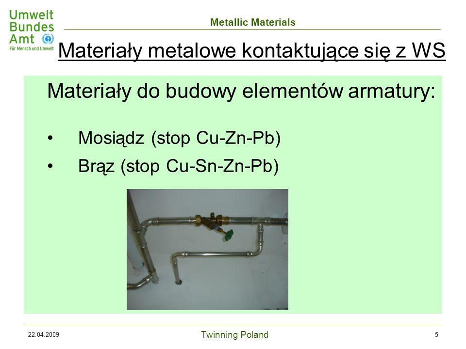 Twinning Poland Metallic Materials 22.04.20095 Materiały do budowy elementów armatury: Mosiądz (stop Cu-Zn-Pb) Brąz (stop Cu-Sn-Zn-Pb) Materiały metalowe kontaktujące się z WS