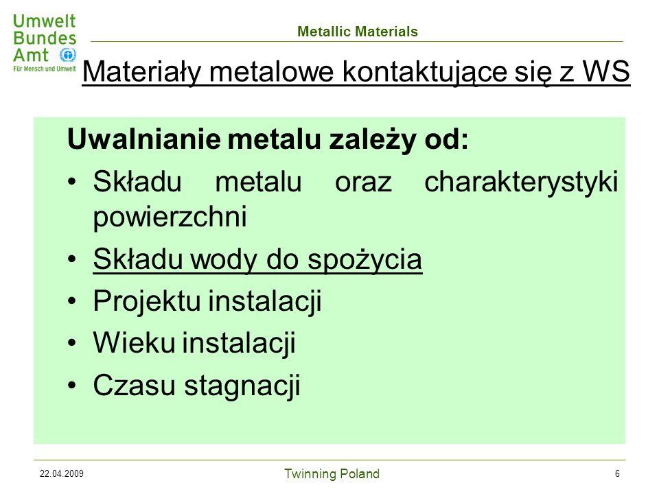 Twinning Poland Metallic Materials 22.04.200927 Propozycja 4 PC: Procedura akceptacji materiałów metalowych stosowanych w kontakcie z wodą do spożycia (21.
