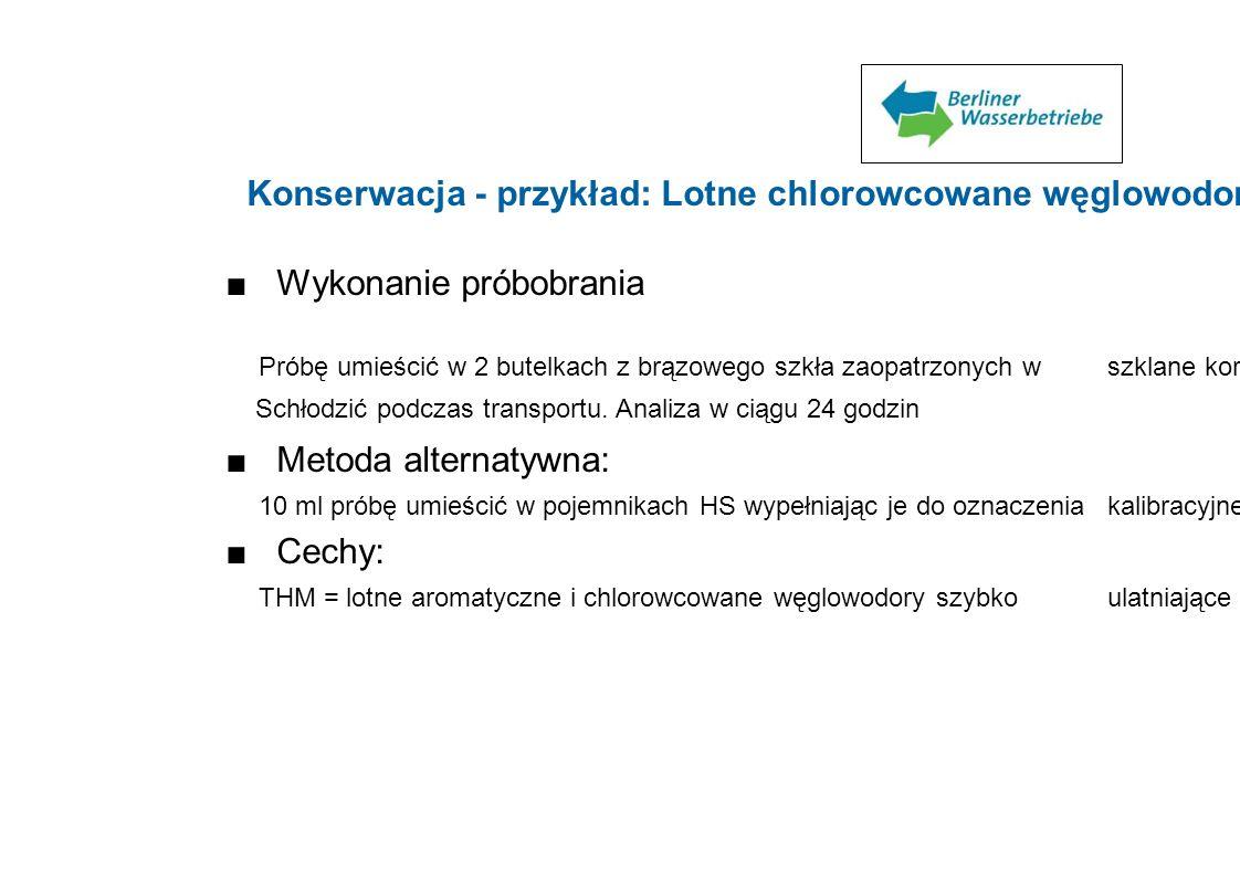 Konserwacja - przykład: Lotne chlorowcowane węglowodory (LHKW) Wykonanie próbobrania Próbę umieścić w 2 butelkach z brązowego szkła zaopatrzonych w sz