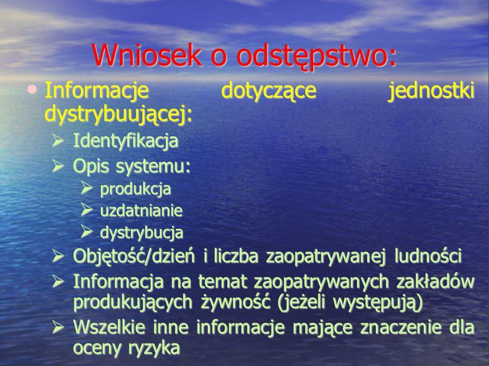 Wniosek o odstępstwo: Informacje dotyczące jednostki dystrybuującej: Informacje dotyczące jednostki dystrybuującej: Identyfikacja Identyfikacja Opis s