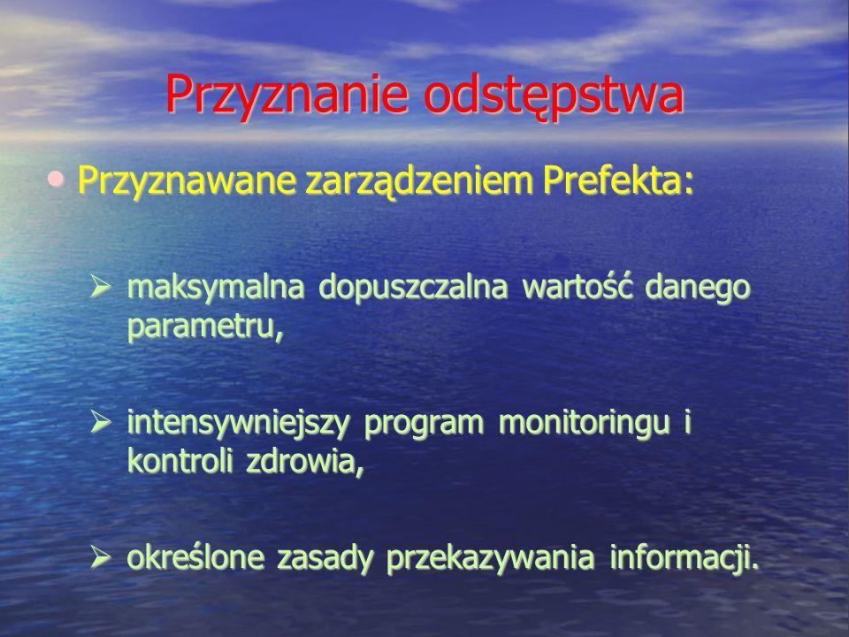 Przyznanie odstępstwa Przyznawane zarządzeniem Prefekta: Przyznawane zarządzeniem Prefekta: maksymalna dopuszczalna wartość danego parametru, maksymal