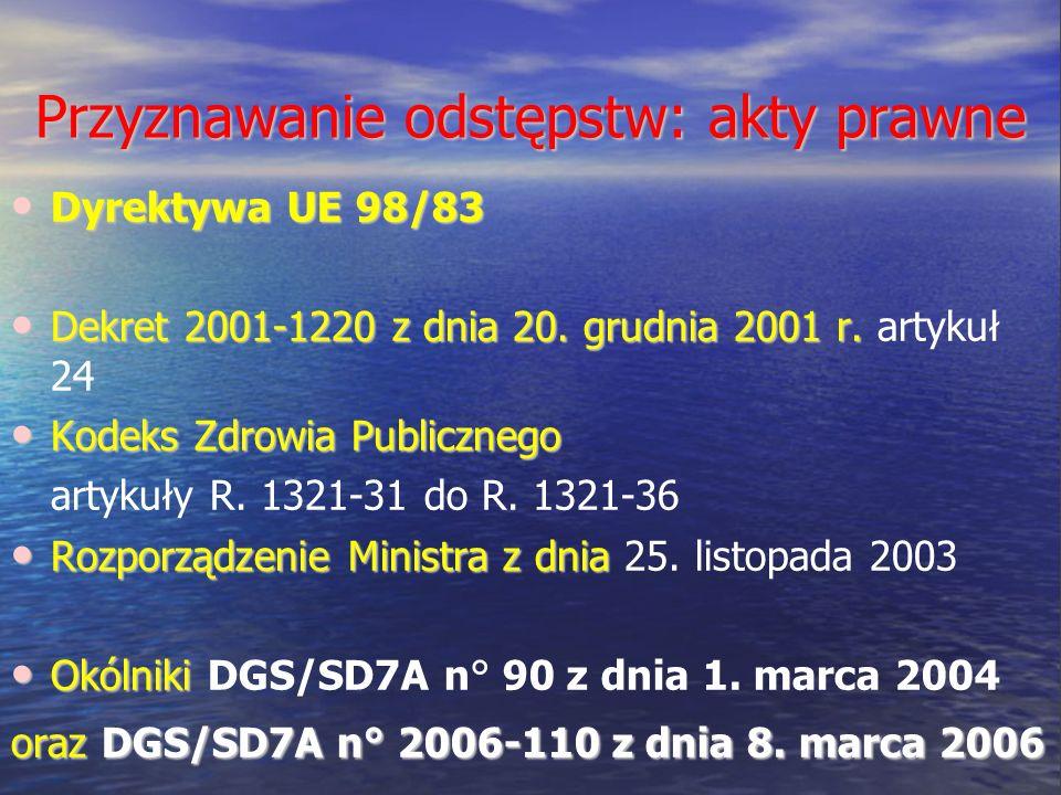 Przyznawanie odstępstw: akty prawne Dyrektywa UE 98/83 Dyrektywa UE 98/83 Dekret 2001-1220 z dnia 20. grudnia 2001 r. Dekret 2001-1220 z dnia 20. grud