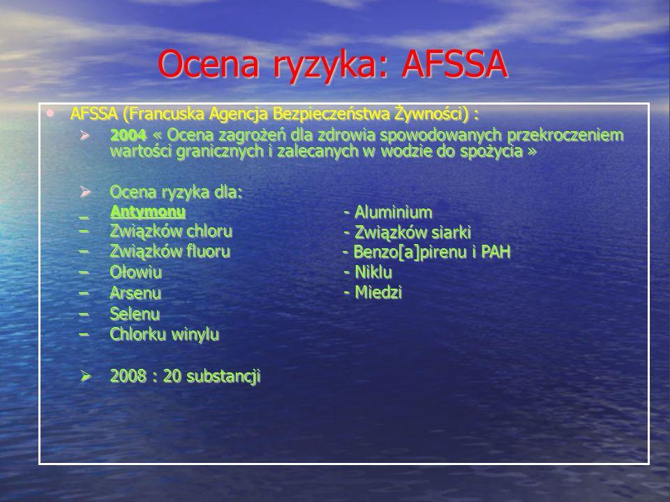 Ocena ryzyka: AFSSA AFSSA (Francuska Agencja Bezpieczeństwa Żywności) : AFSSA (Francuska Agencja Bezpieczeństwa Żywności) : 2004 « Ocena zagrożeń dla