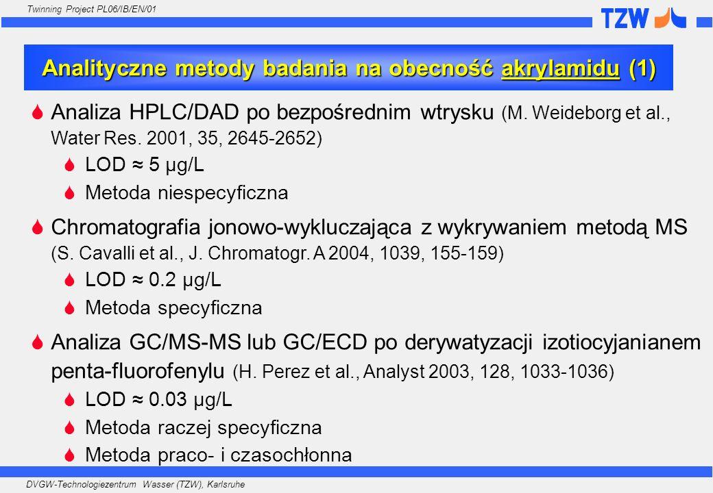 DVGW-Technologiezentrum Wasser (TZW), Karlsruhe Twinning Project PL06/IB/EN/01 Analiza HPLC/DAD po bezpośrednim wtrysku (M. Weideborg et al., Water Re